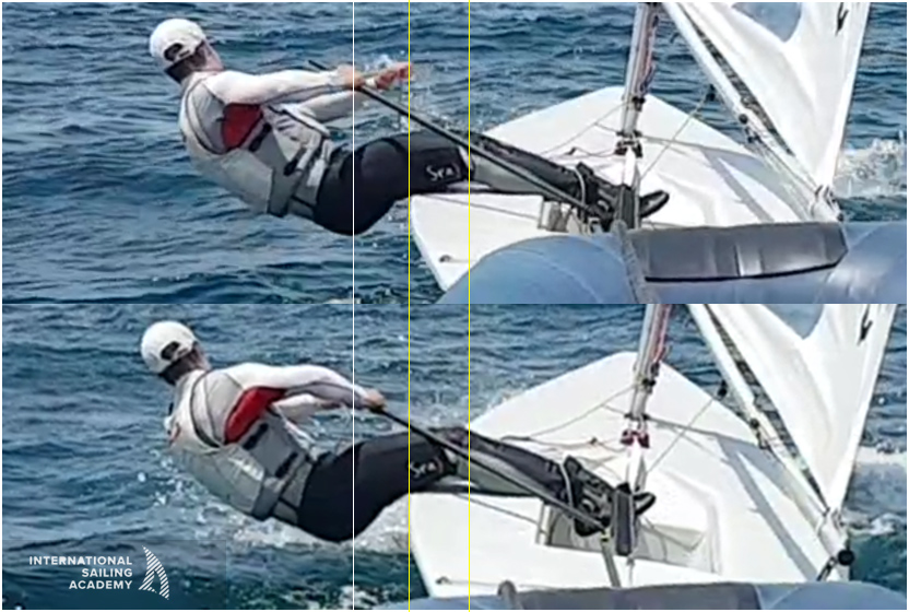 Without having to loosen his strap, the sailor slides out a couple of inches further onto his toes. We estimate 15-20 lbs of extra righting moment in the bottom photo.