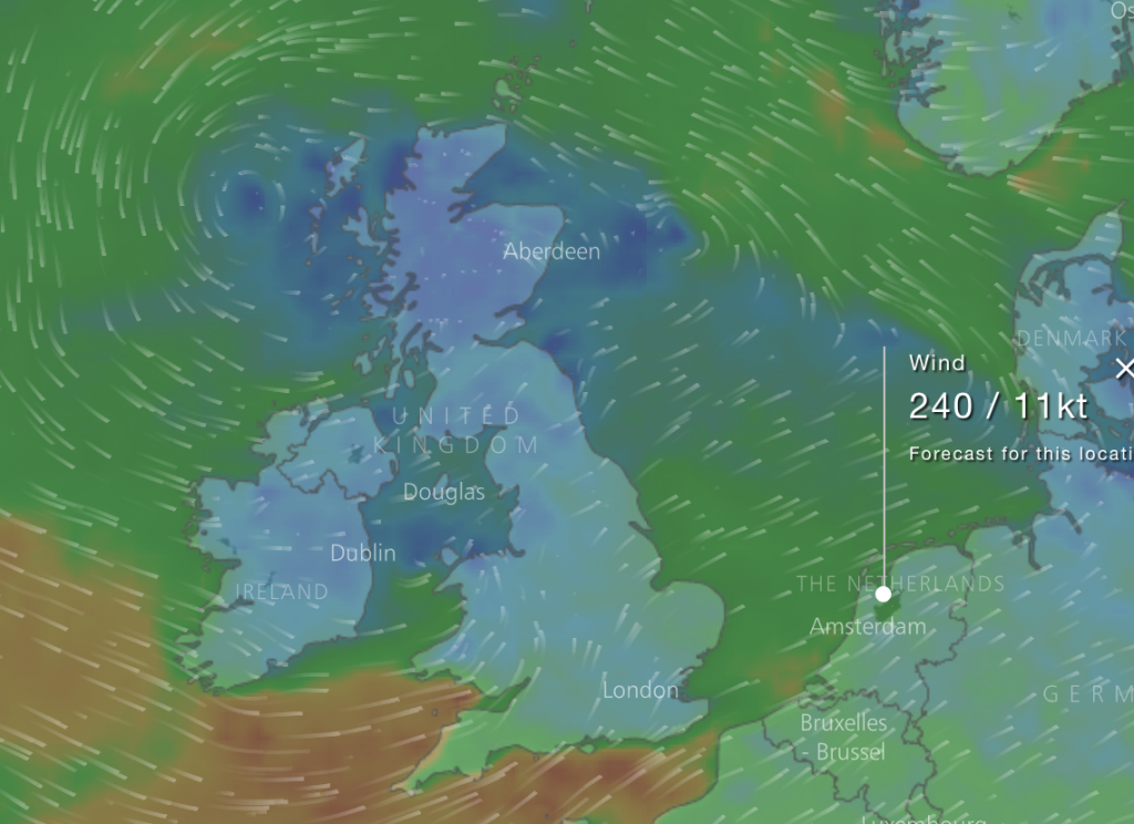 A common low pressure system sits over northern England for several days providing strong westerly winds across most of southern England and oftentimes accelerated through the English Channel and straight over the flat lands of the Netherlands into the IJsselmeer.